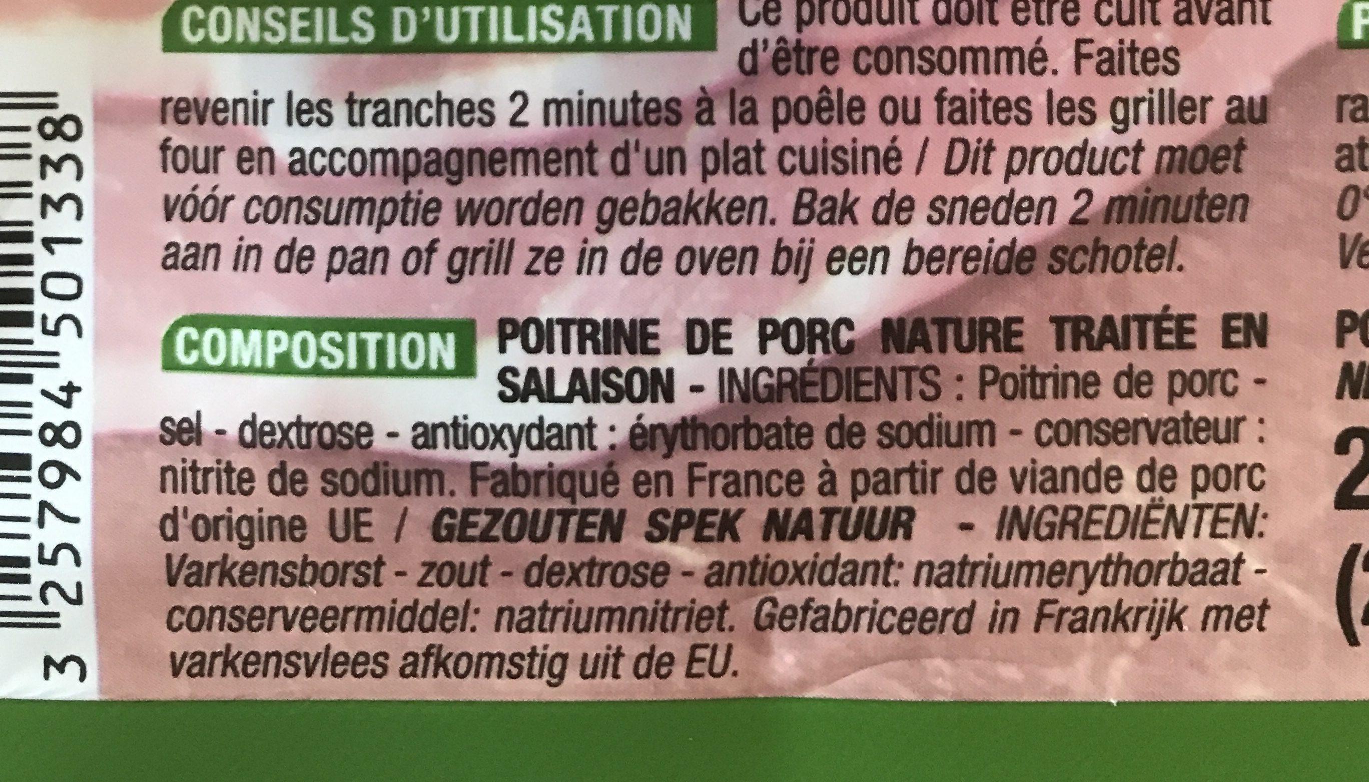 Poitrine nature - Ingrédients - fr