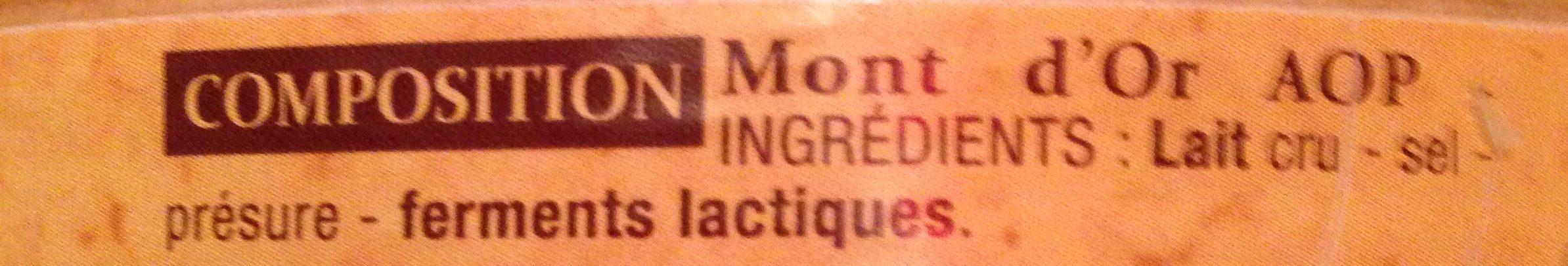 Mont d'or - Ingredients