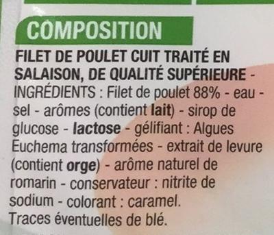 Blanc de poulet (-25% de sel) - Ingredients
