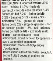 Muesli croustillant fruits - Ingrédients