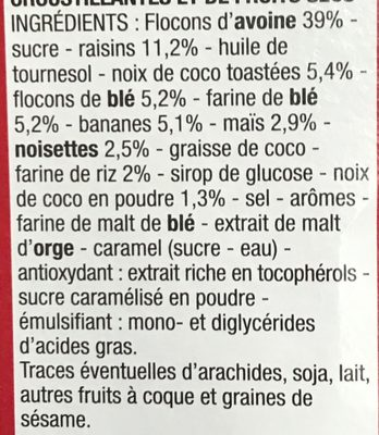 Muesli croustillant fruits - Ingrédients