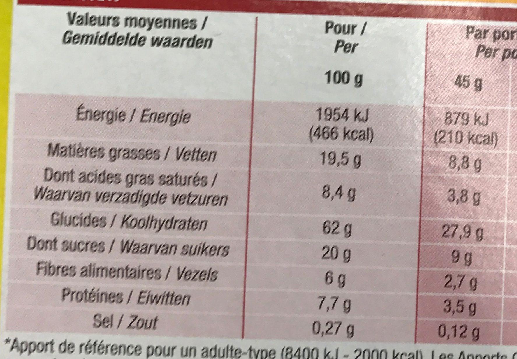 Muesli croustillant fruits - Informations nutritionnelles