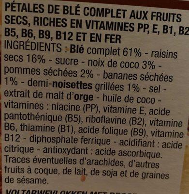 Fruits & fibres - Ingrédients - fr