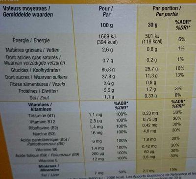 Anneaux de Miel - Informations nutritionnelles - fr