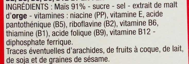 Cornflakes - Ingrediënten - fr