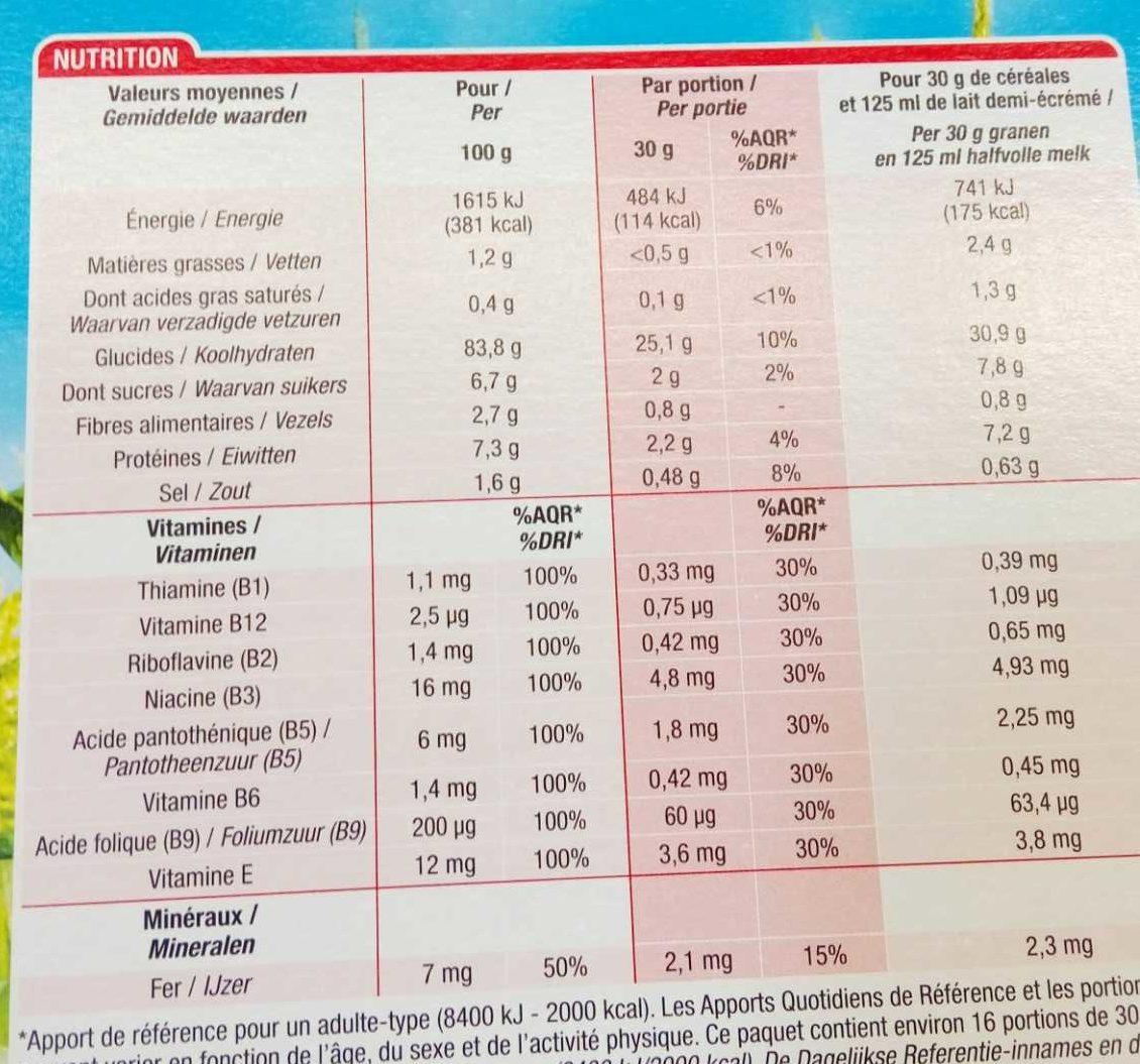 Cornflakes - Voedingswaarden - fr