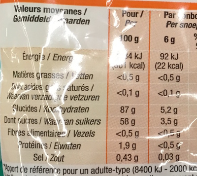 Langues acid - Informazioni nutrizionali - fr