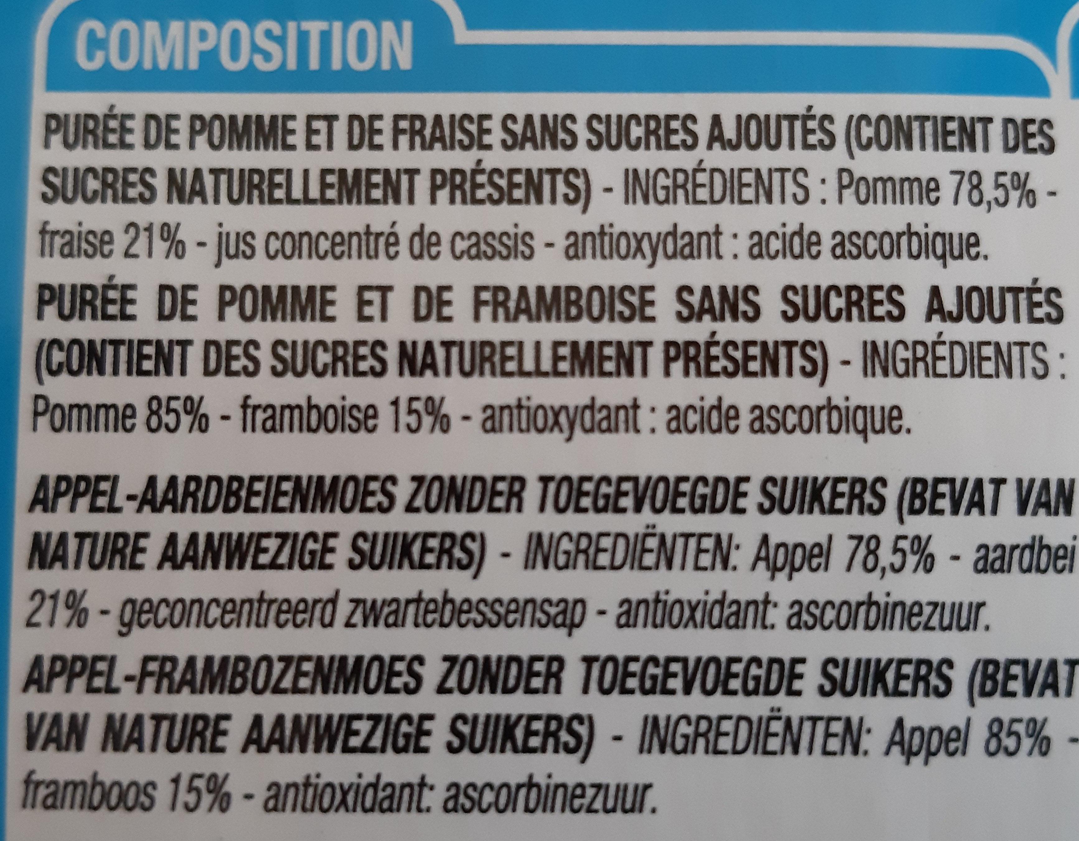 Gourde pomme fraise pomme framboise sans sucre ajoutés - Ingredients