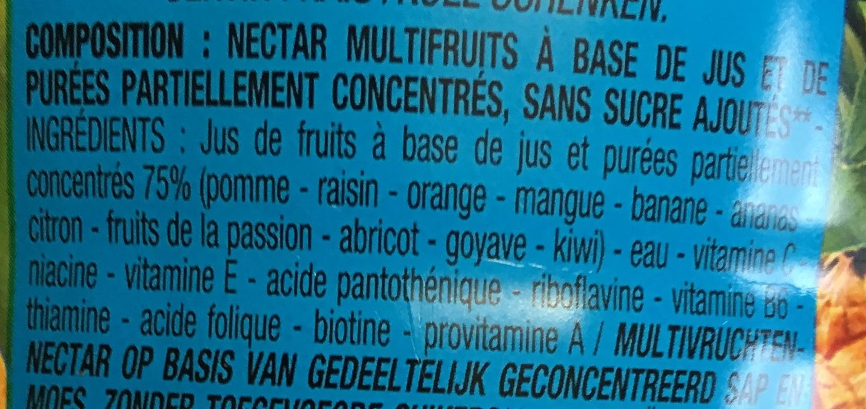 nectar Multifruits - Ingrédients - fr
