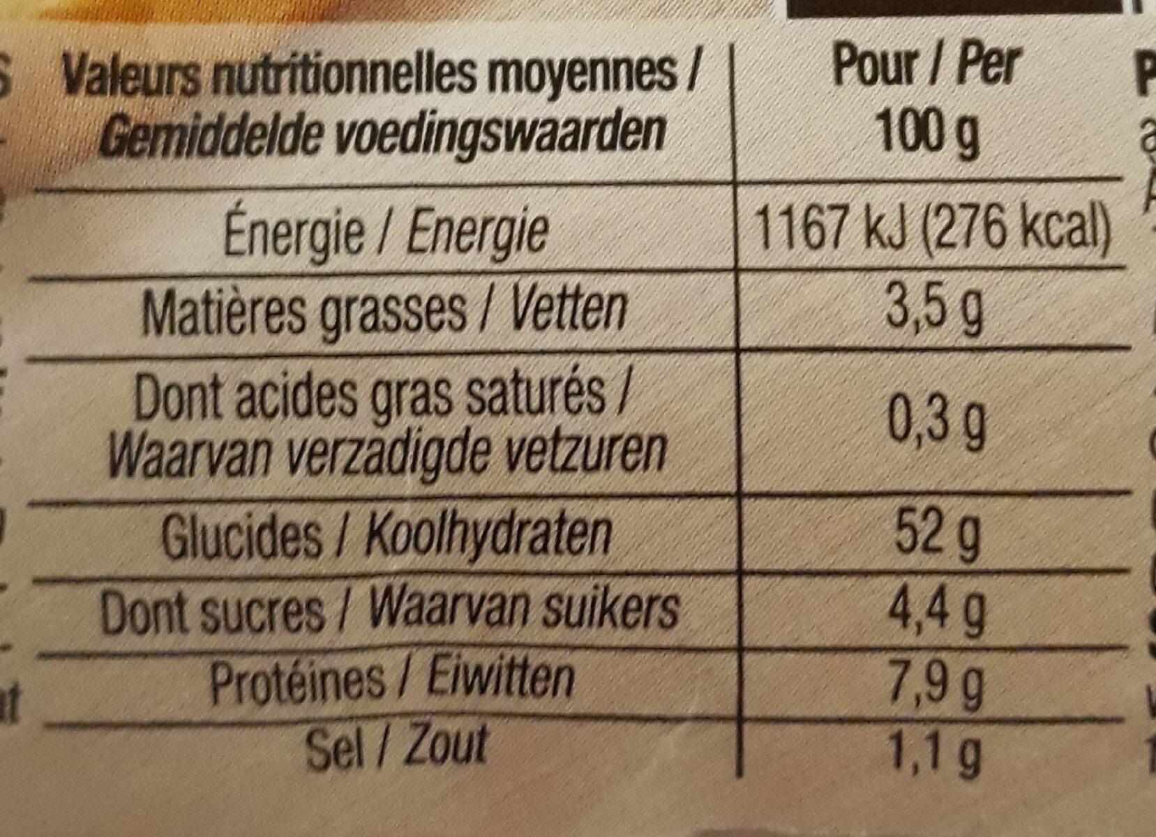 4 Pains Carrés Burger, 330g - Voedingswaarden - fr