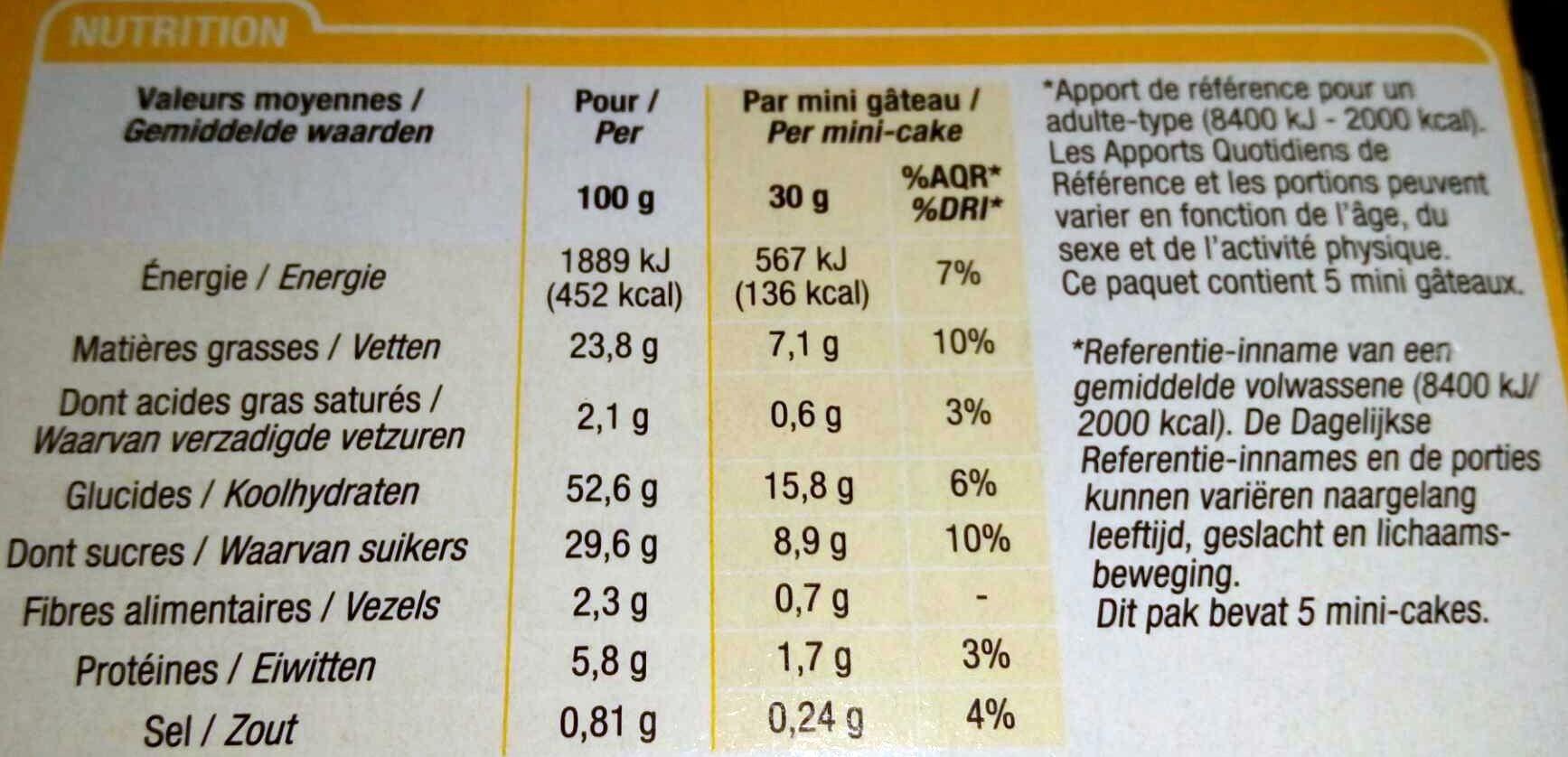 Mini gâteaux marbrées chocolat - Nutrition facts