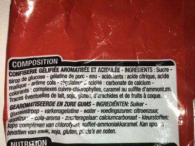 Cola - Ingrédients