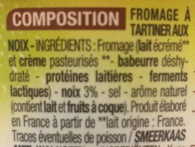 Fromage à tartiner aux noix - Ingrédients - fr