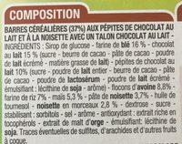 Barres Céréales Chocolat Noir Noisettes - Ingrediënten - fr