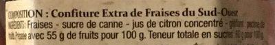 Confiture extra fraise du sud ouest - Ingredients - fr