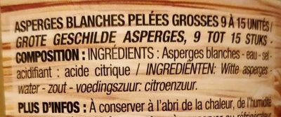 Asperges blanches grosses, 320g - Ingredients - fr