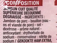 Jambon supérieur Label Rouge sans couenne - Ingrédients
