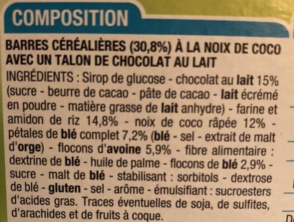 Barre de Céréales Noix de Coco Chocolat - Ingredients - fr