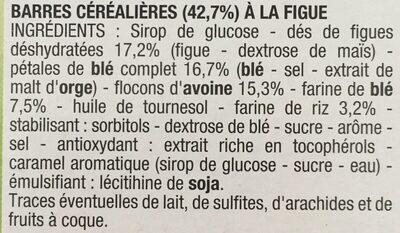 Barre Céréale Figue - Ingrédients