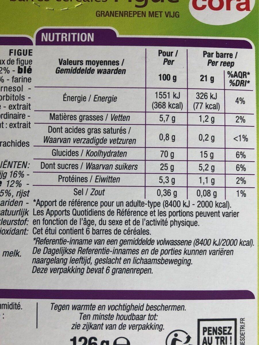 Barres Céréales Figue - Informations nutritionnelles - fr