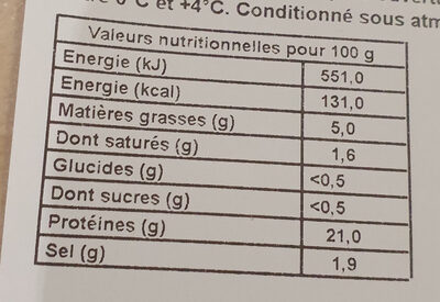 Jambon cuit supérieur avec couenne - Nutrition facts - fr