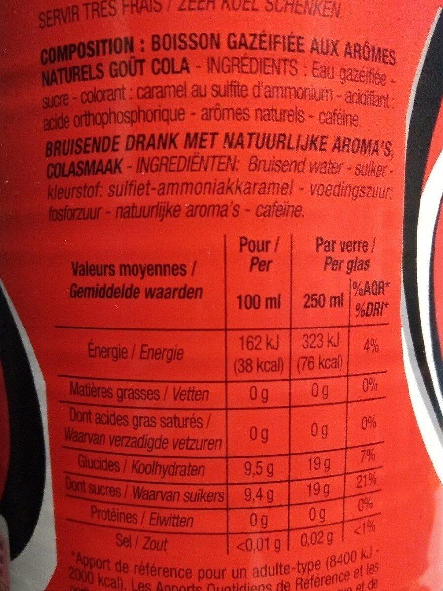 Cola - Valori nutrizionali - fr