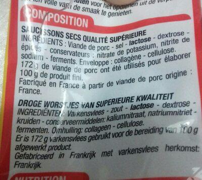 Mini saucissons secs - Ingredients