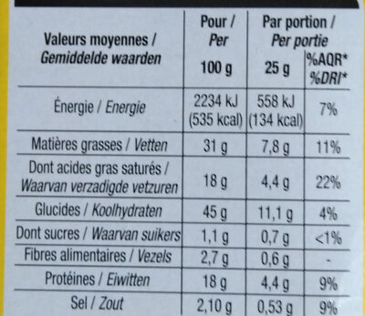 Crackers emmental oignon - Nutrition facts