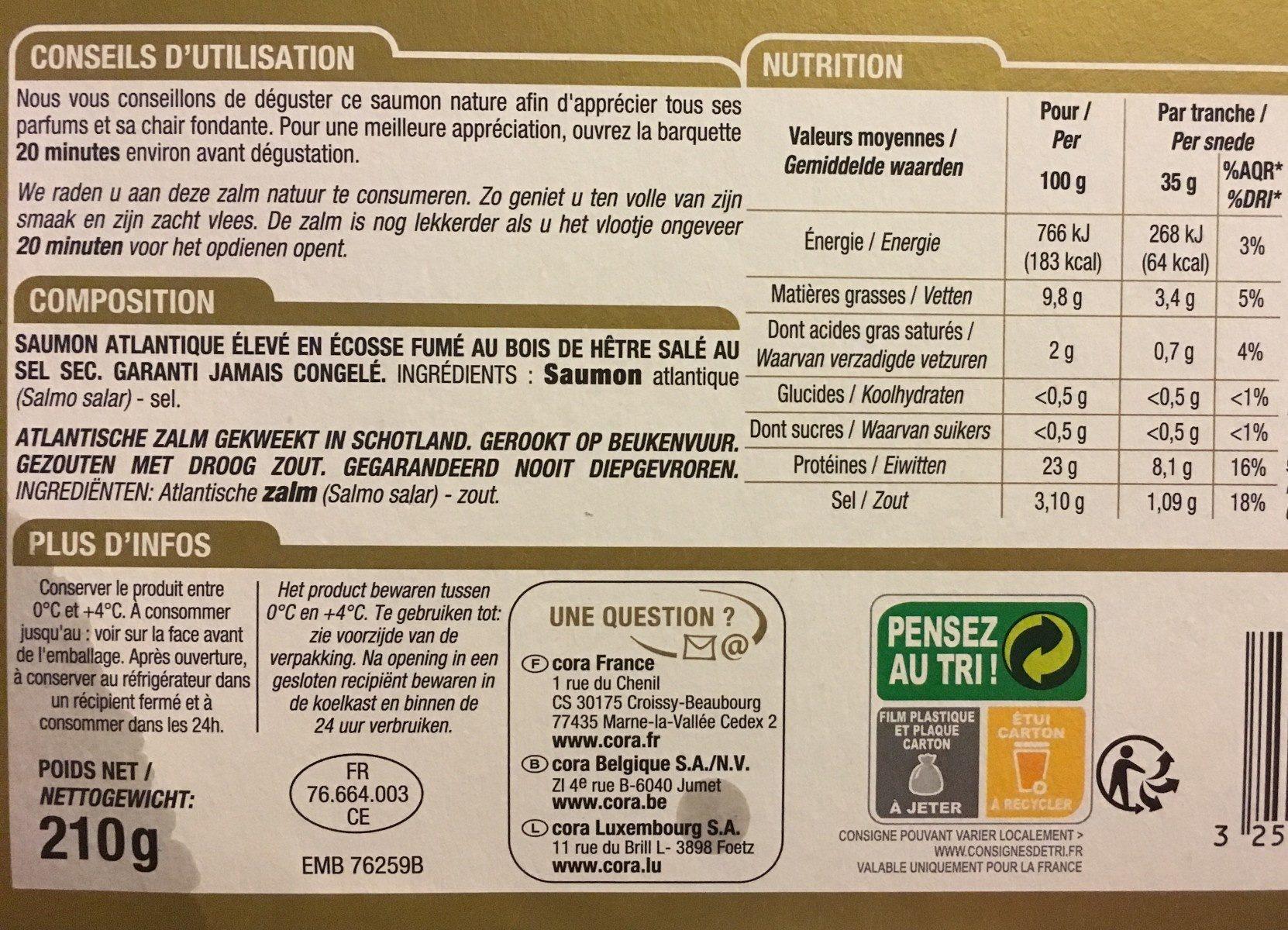 Saumon fumé d'Ecosse - Ingredients