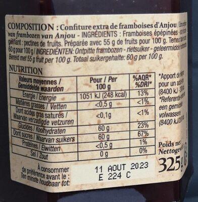 Confiture extra framboise d'Anjou - Informations nutritionnelles