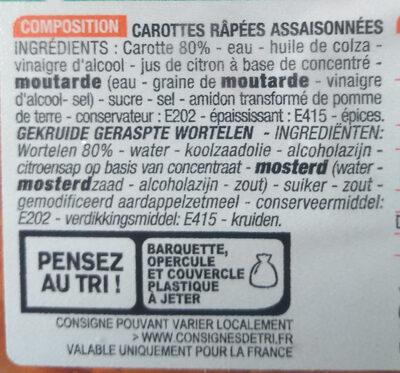 Carottes Rapées assaisonnées - Ingrédients - fr