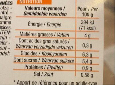 Carottes Rapées assaisonnées - Voedingswaarden - fr