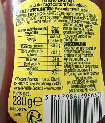 Tomato ketchup nature bio - Nutrition facts - fr