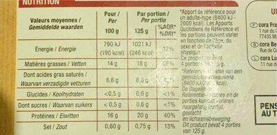 Haché Burger Super Tendre - Informazioni nutrizionali - fr