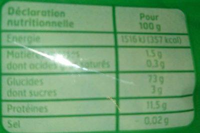 Torsades cuisson 3 minutes - Informations nutritionnelles