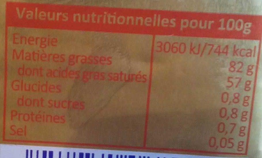 Beurre A.O.P Charentes-Poitou Doux - Nutrition facts