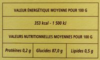 Tapioca - Informations nutritionnelles - fr