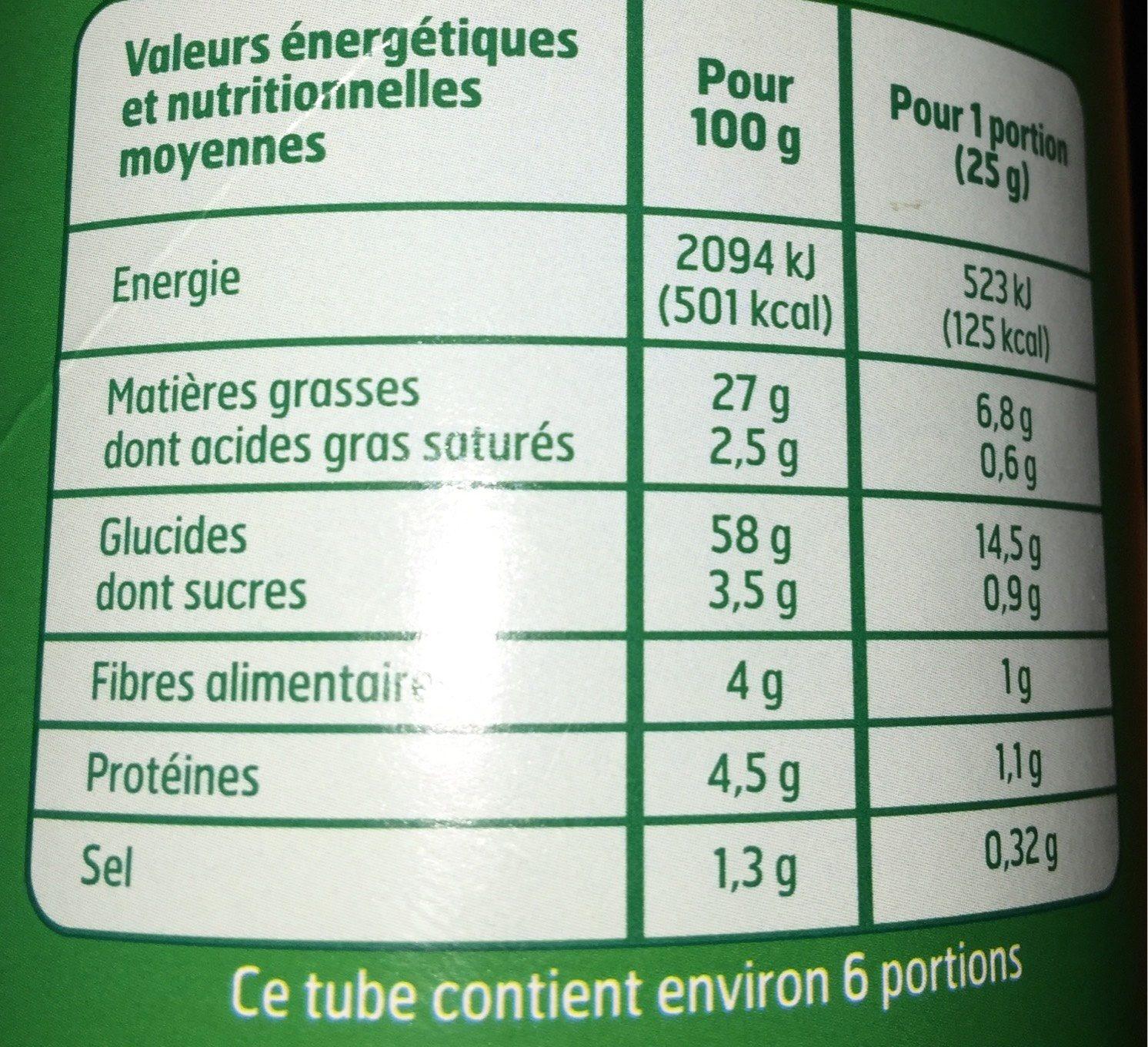 Tuile goût crème oignon - Informations nutritionnelles