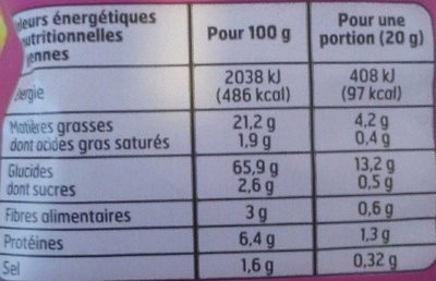Croustillants Goût bacon - Informations nutritionnelles - fr