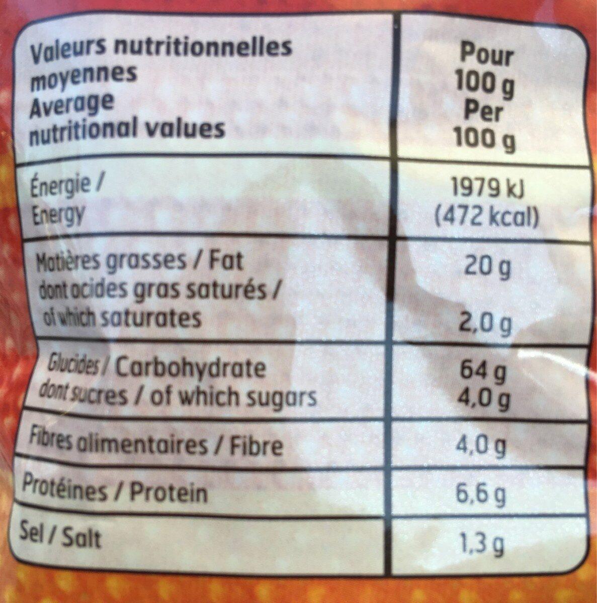 Tortilla goût chili - Voedingswaarden