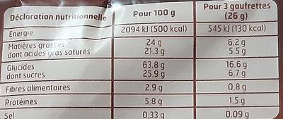 Gaufrettes Cacao - Informations nutritionnelles - fr