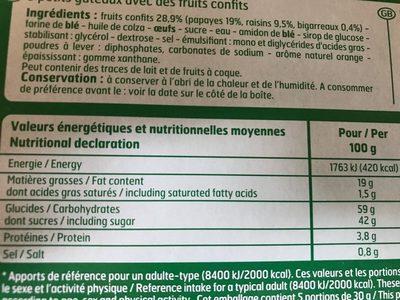 Mini cakes aux fruits - Informations nutritionnelles - fr