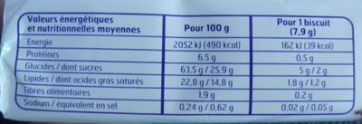 Sablés Coco Belle France - Informations nutritionnelles