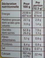 Biscuits Petit Déjeuner Chocolat/Céréales 400 g Lot de 5 - Voedingswaarden - fr