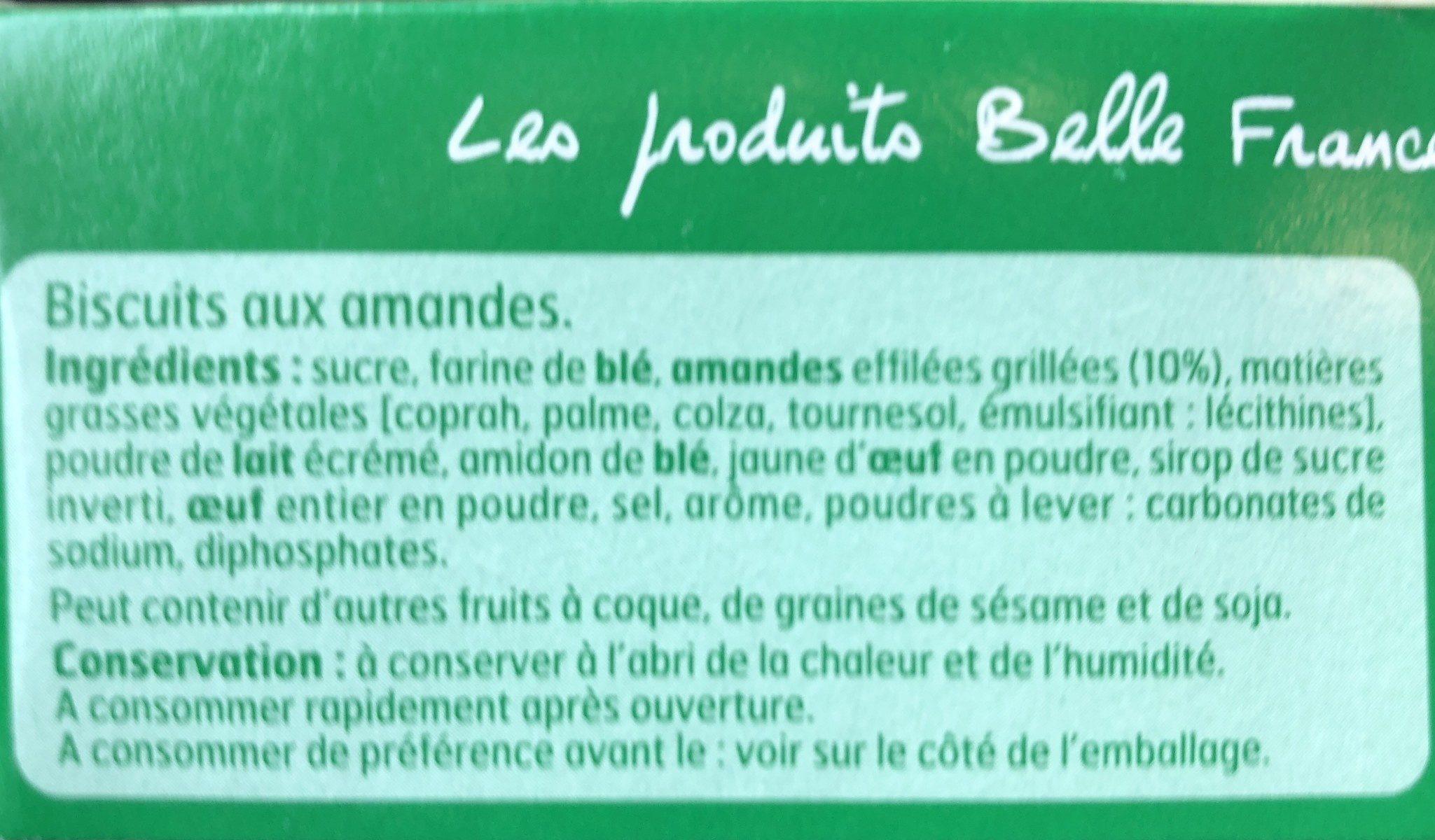 Etui Tuiles Aux Amandes 100G Belle France - Ingrédients - fr