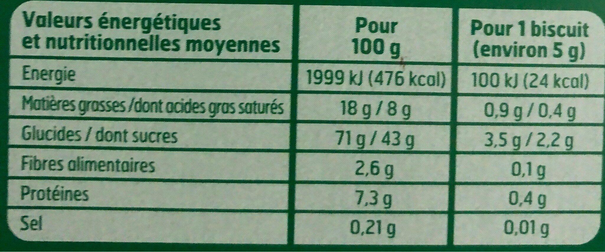 Etui Tuiles Aux Amandes 100G Belle France - Informations nutritionnelles - fr
