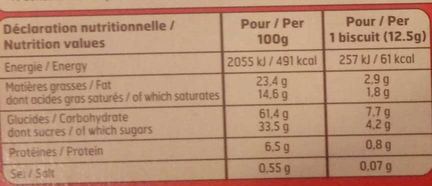 Petit Beurre+tablet.choco Noir 150G Belle France - Informations nutritionnelles - fr