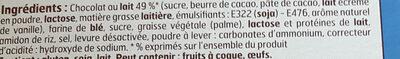 Biscuits torsades  chocolat au lait - Ingrédients - fr