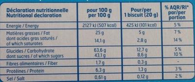 Barre chocolat au lait - Informations nutritionnelles