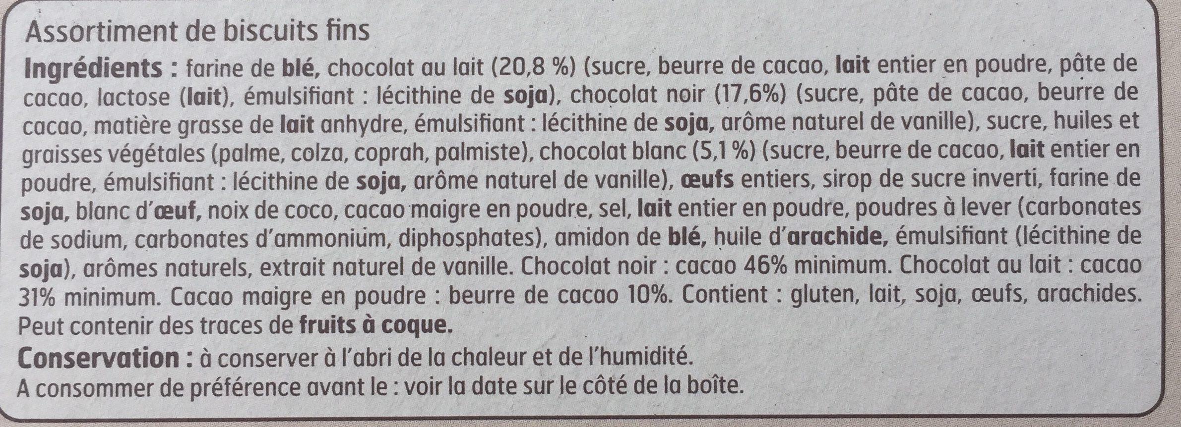 Assortiment de Biscuits Fins - Ingrediënten - fr